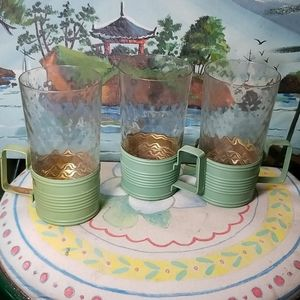 Vintage chase glass cups with brass holders